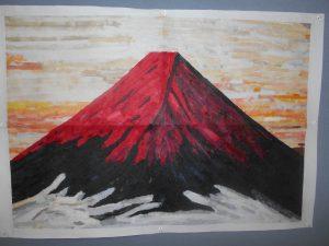 ちぎり絵(赤富士)
